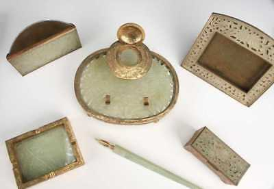 Antique Chinese Gilt Brass & Jade Desk Set