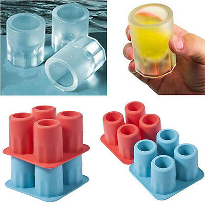 4Cup Ice Cube Shot Shape Silicone Shooters Glass Freeze Molds Maker Tray Party A