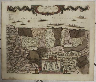 ISRAEL & HOLY LAND 1670ca DE WIT UNUSUAL ANTIQUE ORIGINAL COPPER ENGRAVED MAP