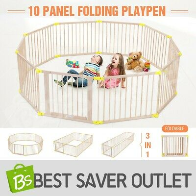 New Wooden 10 Panel Large Baby Playpen Toddler Kid Safety Yard Child Pet Barrier