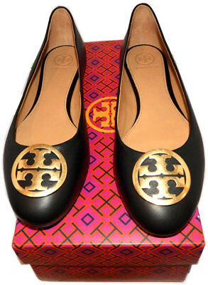 4989e3e0a Tory Burch BENTON Reva Ballerina Flats Gold Logo Ballet Shoe 9.5 Black  Leather