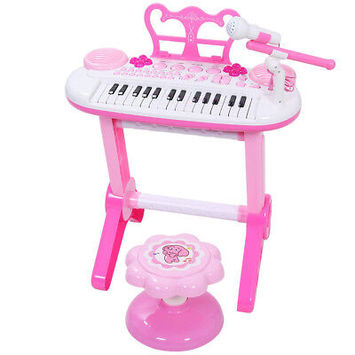 SGILE Piano Toy 31 Key Keyboard Piano w/ Microphone Stool for Kids Toddlers Girl