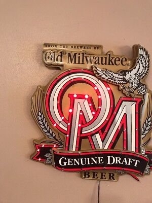 OLD MILWAUKEE Genuine Draft LED RED SCROLLING LIGHT BEER SIGN