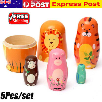 5Pcs/set Matryoshka Russian Nesting Doll Babushka Wooden Painted Doll Toys Gifts