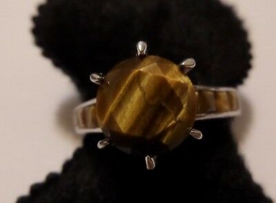 About Size 10 Sterling Silver Tigers Eye Ring Hallmarked & Tested