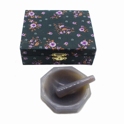 Natural Agate Mortar Laboratory Grinding Tool Triturator with Pestle 60MM Y