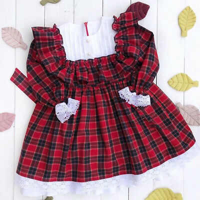 UK Stock Toddler Kids Baby Girls Christmas Lace Plaid Party Dress Casual Clothes