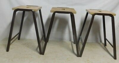 3 Vintage School Stools - Kitchen - Science Lab - Stacking - Industrial