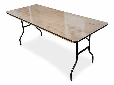 6ft Wooden Trestle Table Wishbone Folding Legs Plywood Banqueting Catering 183cm