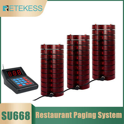 Restaurant Wireless Paging Queuing Call System Transmitter+30x Coaster Pagers US
