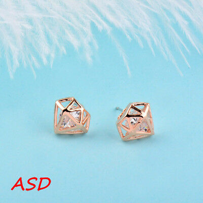 Wholesale 10pcs Grace Cone Hollow Silver Gold Crystal Ear Stud For Wedding