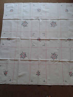 Vintage Hand Embroidered White Linen Cotton Tablecloth