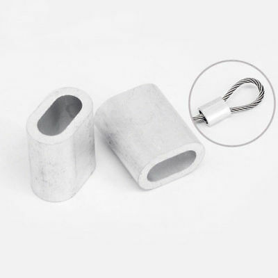 10/50/100Pcs Aluminum Cable Sleeves Cable Ferrule Oval Wire Rope Clips P