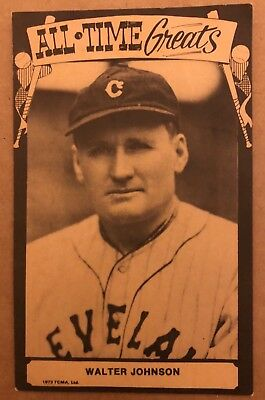 1973 Tcma All Time Greats Walter Johnson Postcard Baseball Card Cleveland Indian