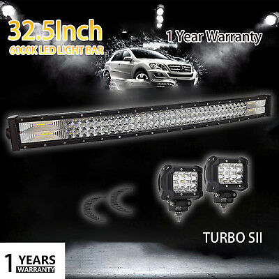 """52 inch Curved LED Light Bar 32.5"""" + 4"""" CREE Led Work Pods Jeep Truck Offroad"""