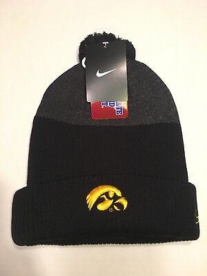 a4b2f457 Nike University Of Iowa Hawkeyes Newday Cuffed Pom Beanie Hat Black OSFM New