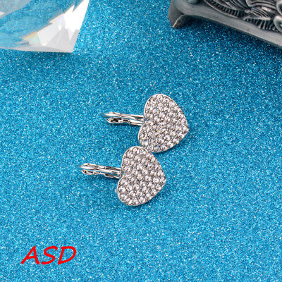 Wholesale 10pcs Trendy Gold Silver Love Heart Eardrop Cubic Zirconia Ear Stud