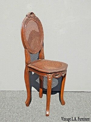 Vintage French Provincial Carved Wood & Cane Side Chair Louis XVI Rococo