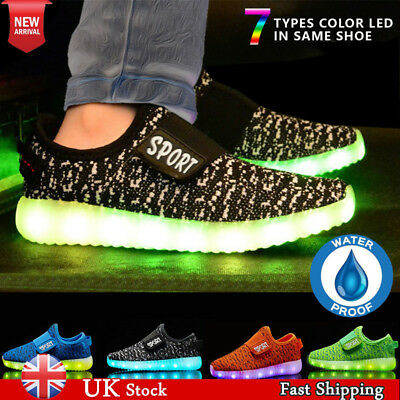UK Kids Boys Girls USB LEDS Shoes Trainers Baby Toddle Luminous Velcro Sneaker