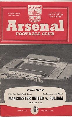 Manchester United v Fulham 1957-58 FA Cup semi final replay @ Arsenal