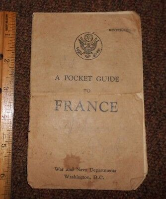 A Pocket Guide to France WW2 War & Navy Dept. for U.S. Soldiers 18 Pg Incomplete