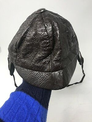 Vintage Toddler Boys Hat with Ear Covers and Chin Strap  Faux Brown Leather