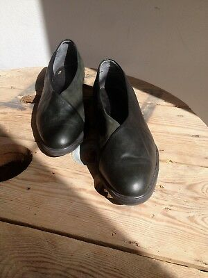 Vintage Shoes Scarpe Mocassino Donna Pelle Verdone N. 38 Made In Italy