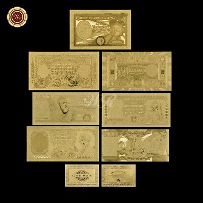 7pcs Italian Gold Foil Banknotes Souvenirs Value Collection Gifts Art Crafts