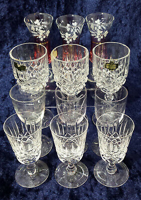 Job lot 12 asst antique & vintage sherry glasses - all ages. Etched & cut glass
