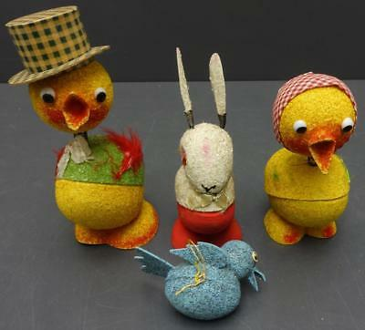 Lot 4 Vintage Paper Mache Candy Containers Bunny Chicken Bird Easter Egg Nodder