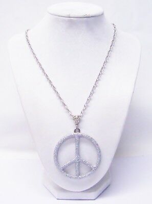 Large Silver w/Crystal Sprinkles Peace Sign Symbol Pendant Necklace