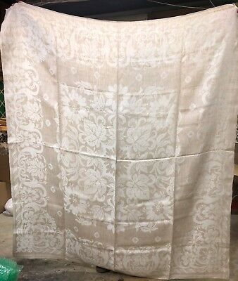 Antique Cream & Tan Linen Tablecloth w/ Lovely Design and Family History VGC
