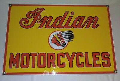 OLD INDIAN MOTORCYCLE PORCELAIN ADVERTISING SIGN (Reproduction) 8