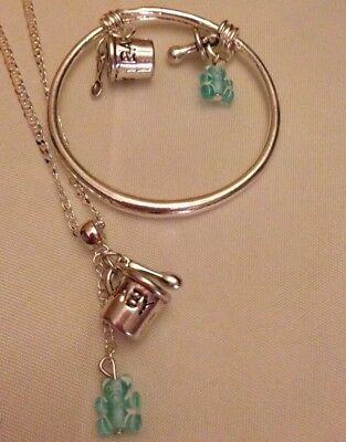 """Boy/child Bangle/bluTed,cup&spoon Charm/sterSil *Chain16""""/In A Box"""