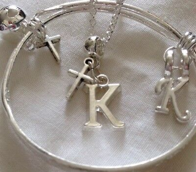 """Initial K/sterling Silver *16"""" Chain&Bangle&cliponoff Charm*/In a Box."""