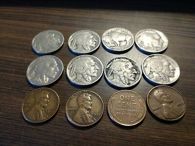 VINTAGE United States Coin Lot Of 8 Buffalo Nickels 4 wheaties FREE SHIPPING