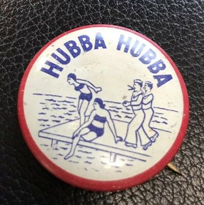 Vintage WWII US Navy Novelty Pin HUBBA HUBBA Sailor GIRLS Antique Badge