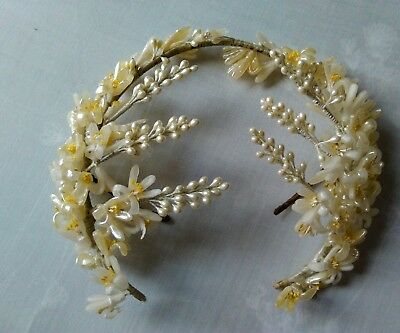 antique vintage wedding tiara wax flowers 1930 veil headdress pearls cream white
