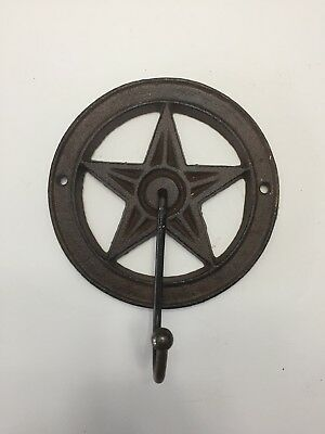 Cast Iron STAR Coat Hook Hat Towel Rack Western Cowboy Rustic Decor