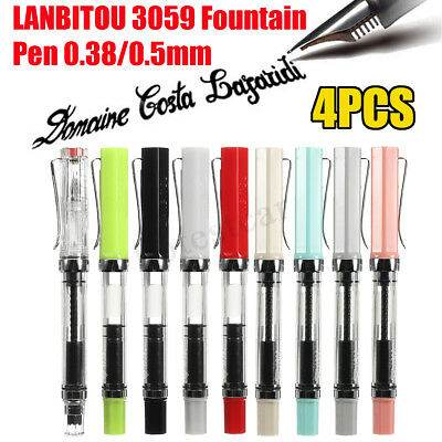 LANBITOU 3059 4PCS Multicolour 0.38mm/0.5mm Nib Iridium Fountain Pen Push Cap !