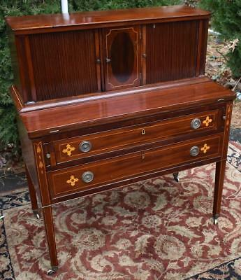 19th century Antique English Edwardian Mahogany inlaid Writing secretary desk