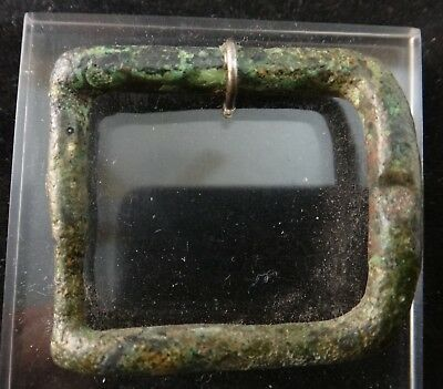 "Roman Bronze Belt Buckle. Approx. 1 ½"" x 1 ¼"".  Mounted"