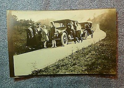 Vintage RPPC Real Photo Postcard 2 Early Automobiles Caravan With Families