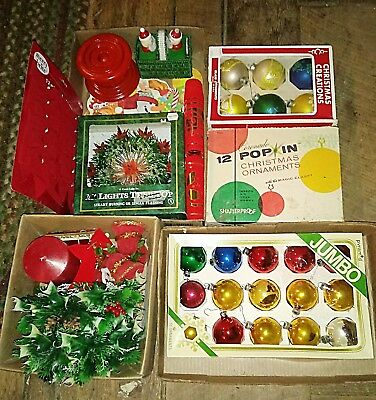 Vintage Christmas LOT Ornaments Decorations Bulbs Wreaths Candle & Holder Bows..