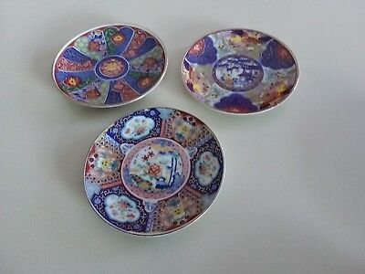 Vintage Japanese Imari Small Plates Set of 3 Hand Painted Gold Trim Beautiful!