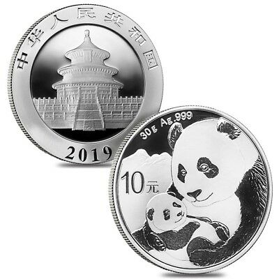 Lot of 2 - 2019 30 gram Chinese Silver Panda 10 Yuan .999 Fine BU