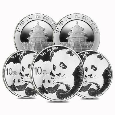Lot of 5 - 2019 30 gram Chinese Silver Panda 10 Yuan .999 Fine BU