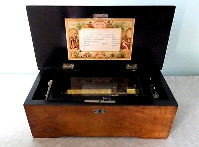 Antique Sherman, Clay & Co cylinder music box 6 airs Parts Or Repair wood case