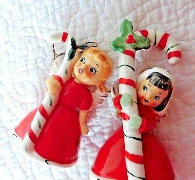 "VINTAGE NAPCO 1956 4"" ANGEL CANDY CANE Christmas BELL + holiday 3"" ANGEL bell"