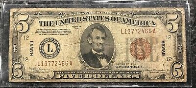 1934 $5 Hawaii Federal Reserve Brown Seal Note ~ Good Condition! Nr!
